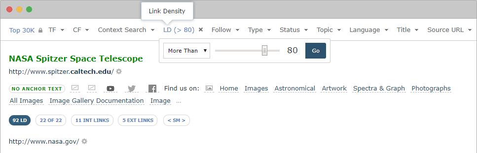 Link Density Filter in Majestic Link Context